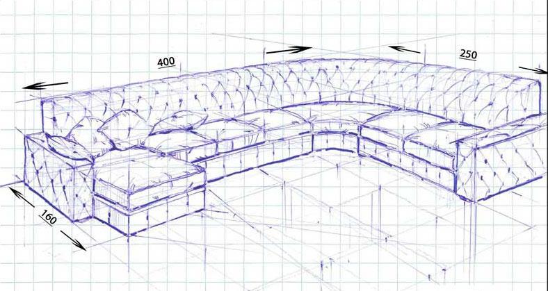 Divano chesterfield su progetto angolare