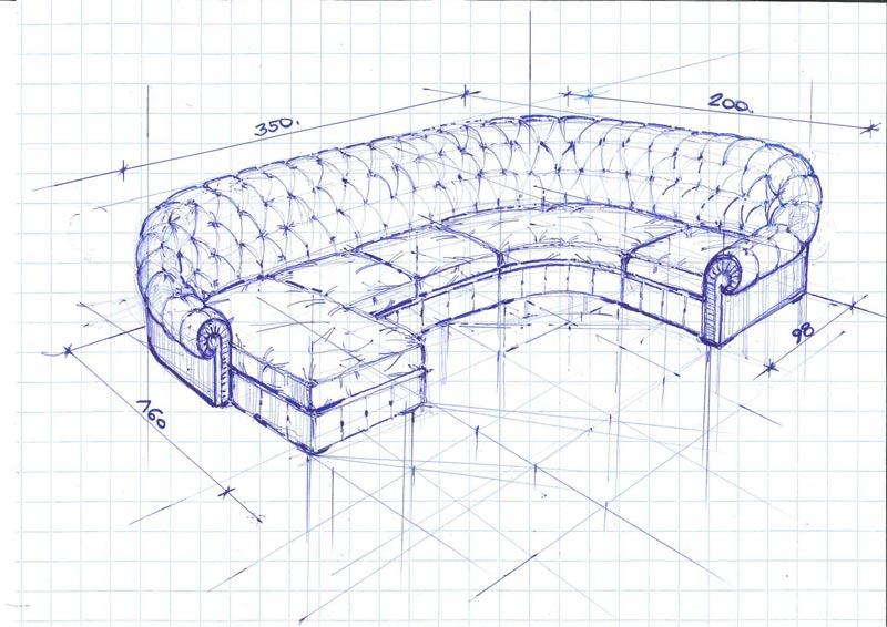 Progetto per divano chesterfield componibile su misura