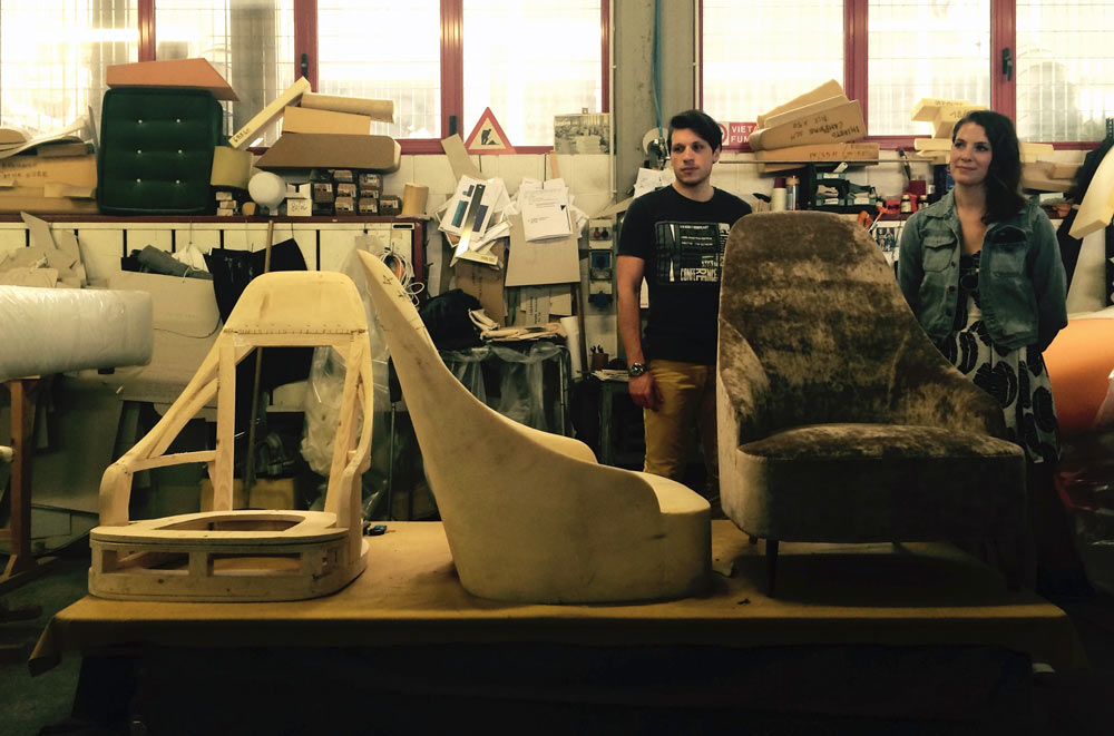 Prototype fauteuil Vanessa, tapisserie ameublement berto