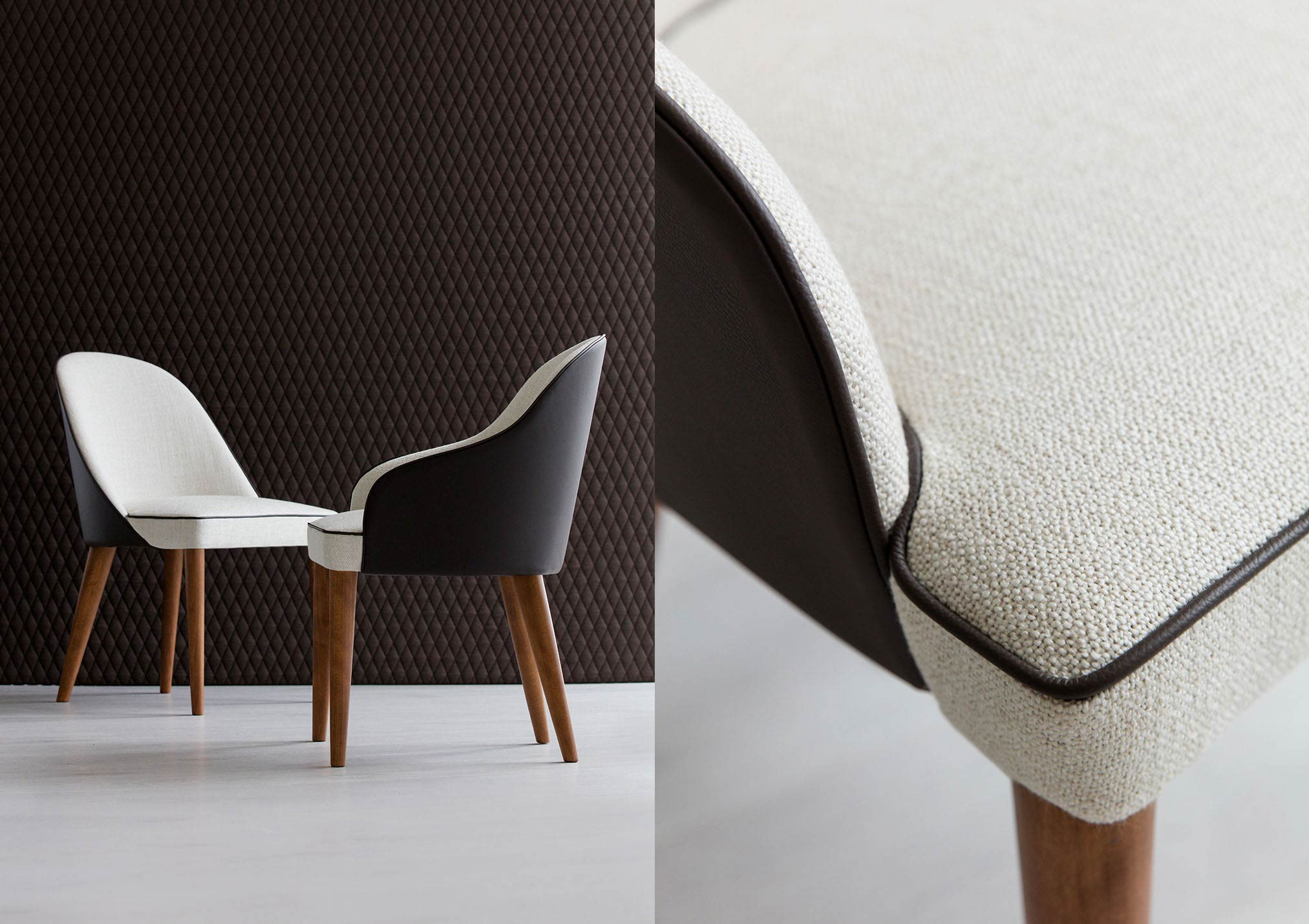 chaise Judy en tissu et cuir moderne