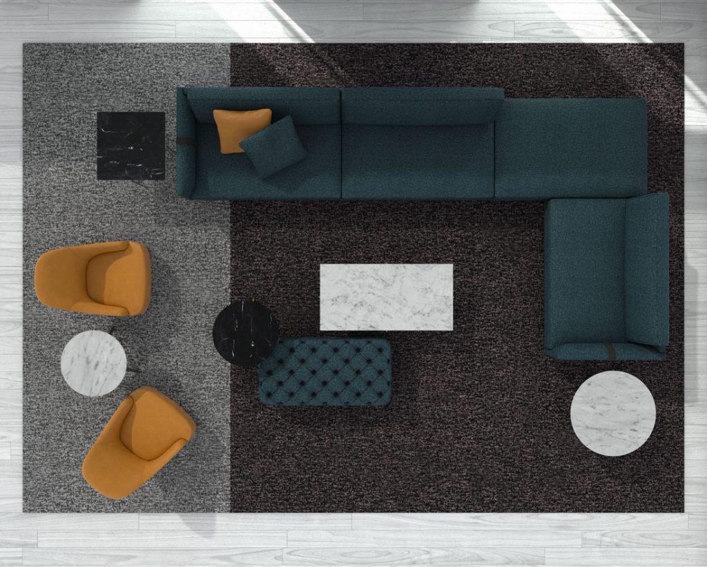Canapé de design Dee Dee de BertO avec les compléments de la Collection BertO 2021