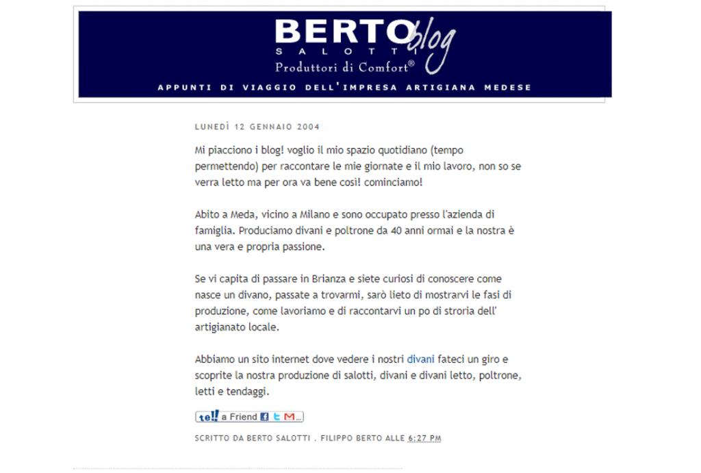 Berto Blog premier Blog de Berto Salotti daté 2004