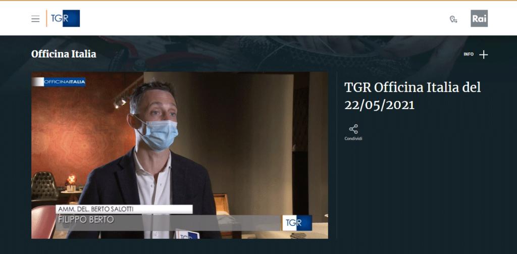 Filippo Berto interviewé par RAI 3 pour Officina Italia au sujet du Salon du Meuble 2021